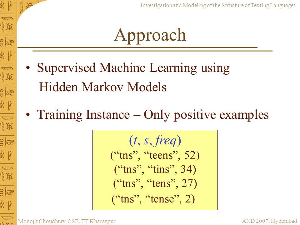 Approach Supervised Machine Learning using Hidden Markov Models