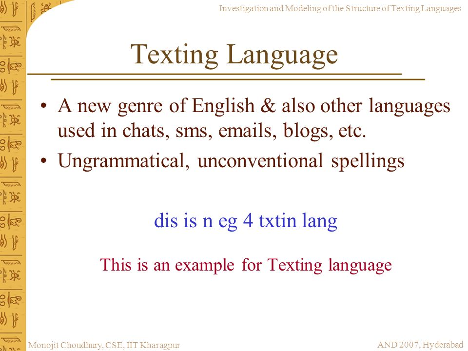 This is an example for Texting language