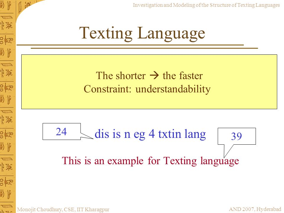 Texting Language The shorter  the faster. Constraint: understandability.