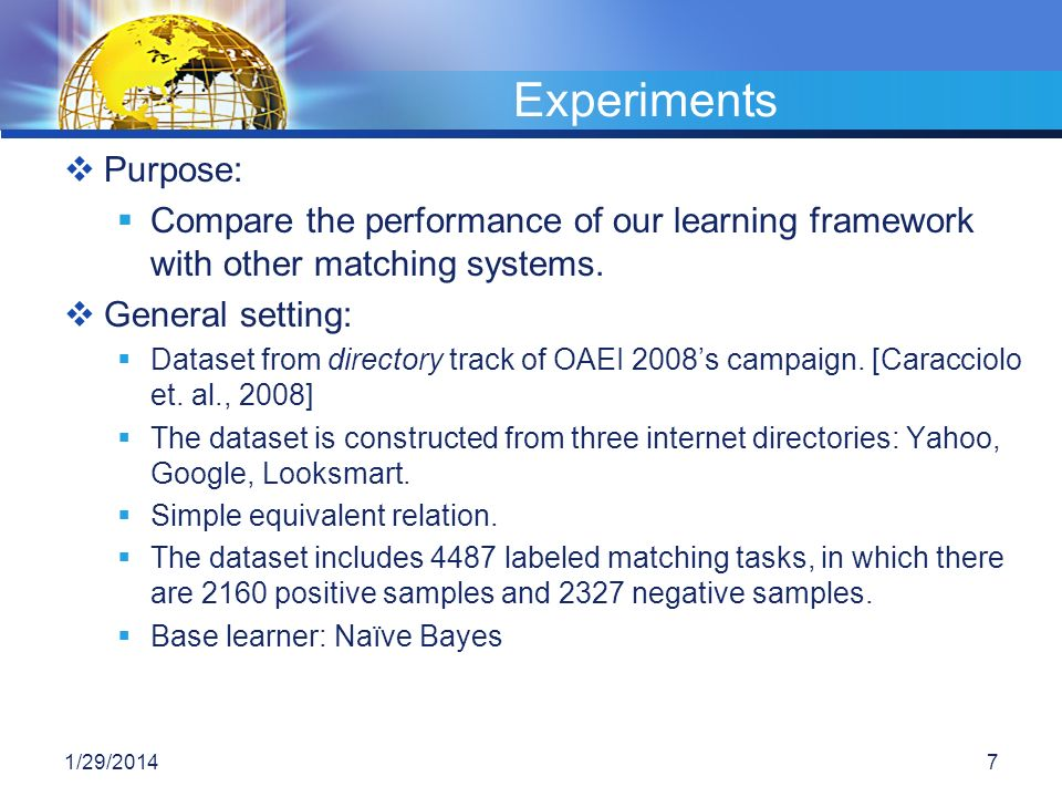 Experiments Purpose: Compare the performance of our learning framework with other matching systems.