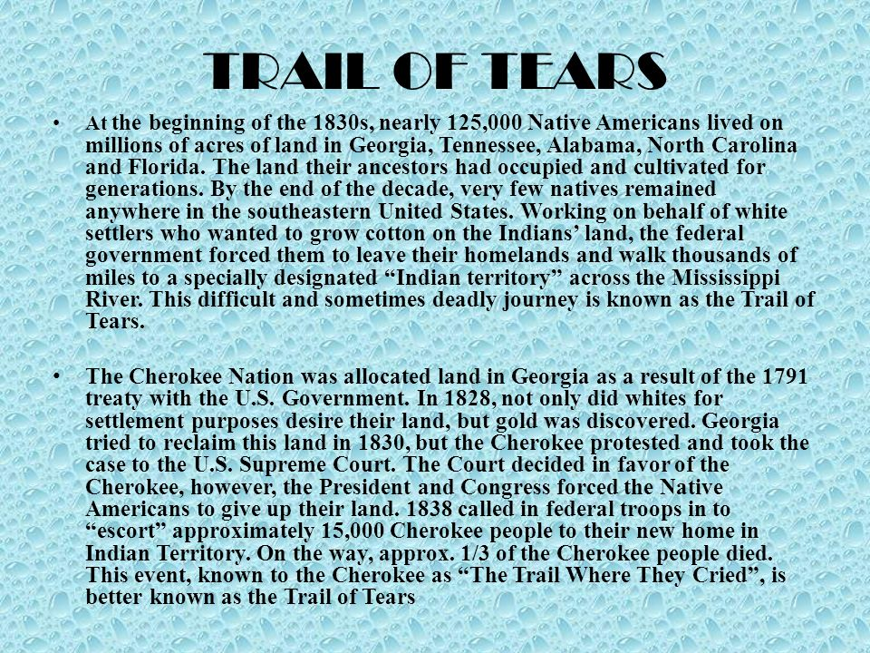 an analysis of the trail of tears and indian removal act of 1830s The cherokee nation in the 1830s and the story of removal indian removal act of 1830 and the trail the trail of tears and the indian removal act.