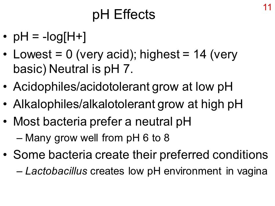 pH Effects pH = -log[H+]