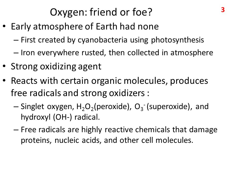 Oxygen: friend or foe Early atmosphere of Earth had none