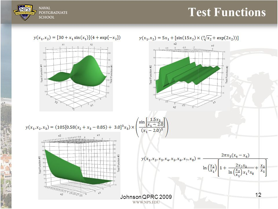 Test Functions Test Function #1 Test Function #2 Test Function #4