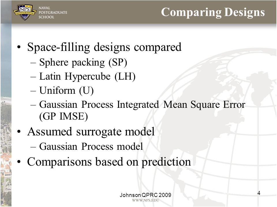 Space-filling designs compared