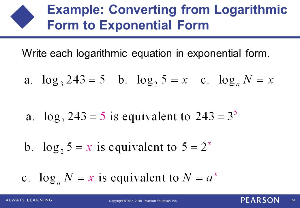 write in logarithmic form Free logarithmic form calculator - present exponents in their logarithmic forms step-by-step.