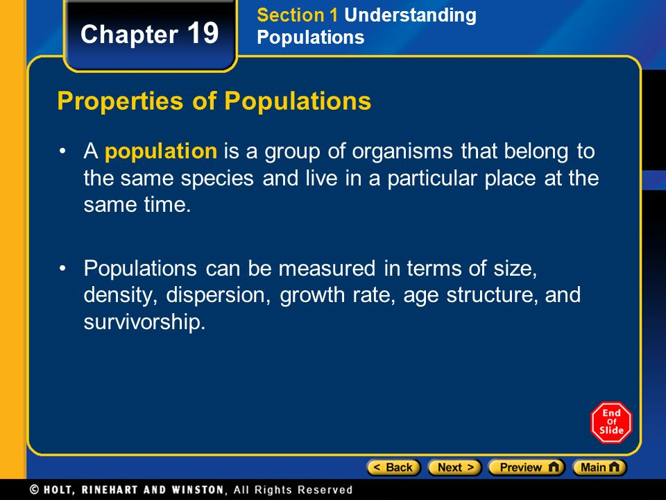 compare two populations in terms of size density and dispersion ...