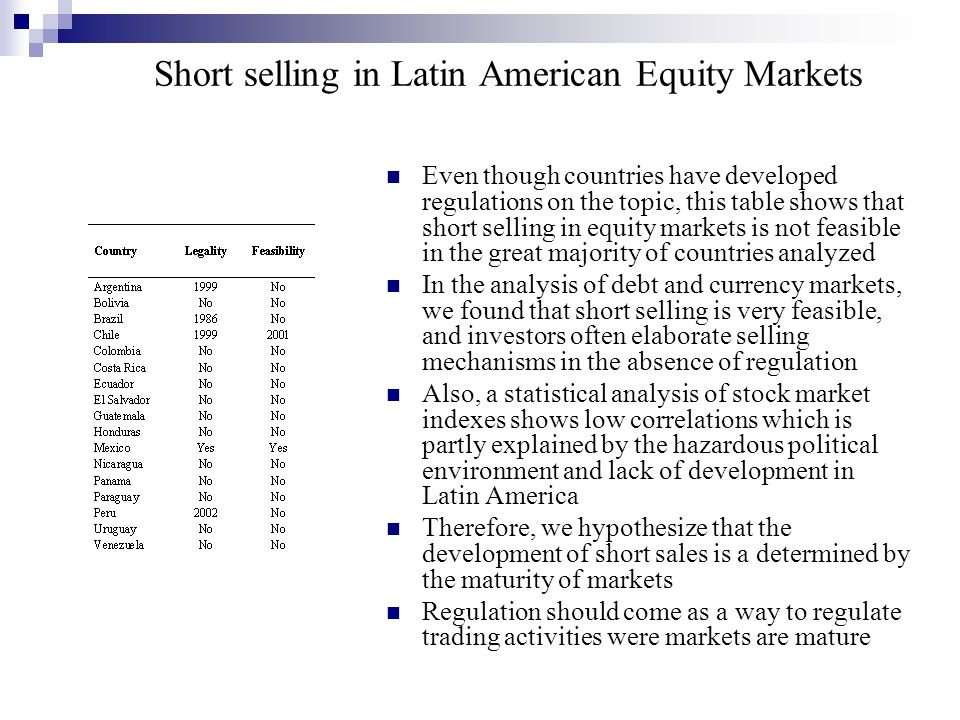 Short selling in Latin American Equity Markets