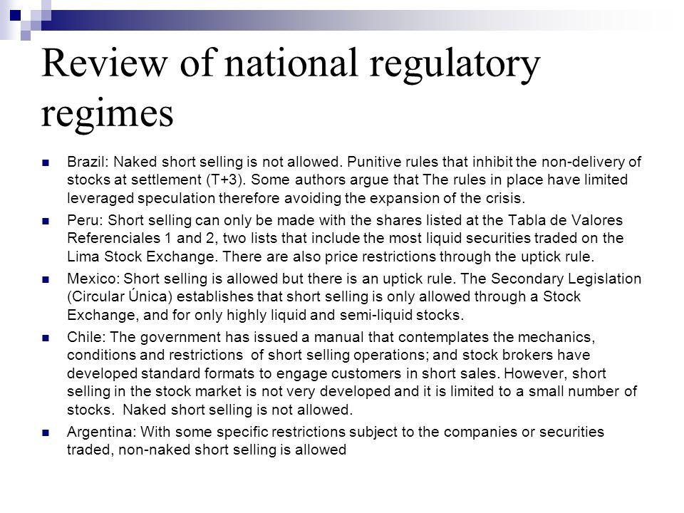 Review of national regulatory regimes