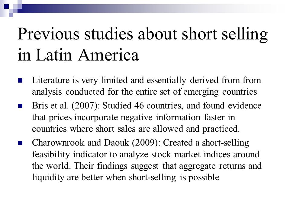 Previous studies about short selling in Latin America