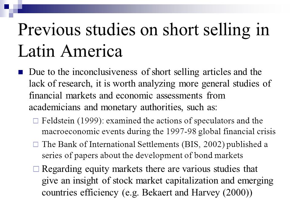 Previous studies on short selling in Latin America