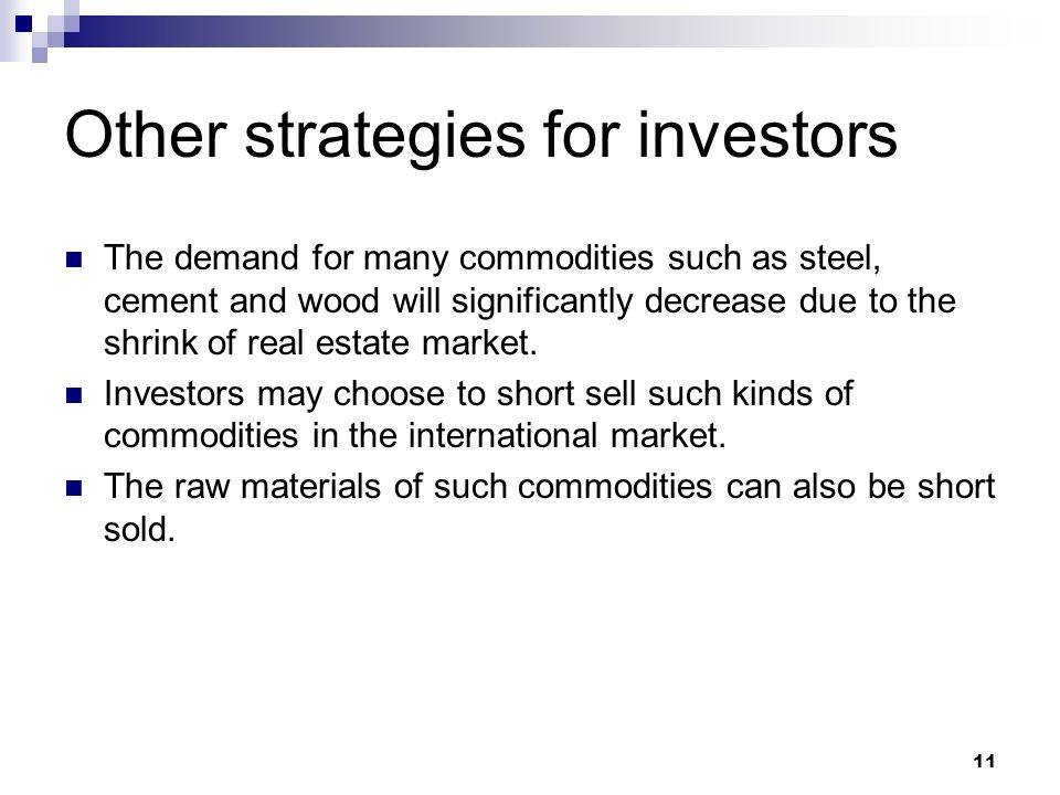 Other strategies for investors