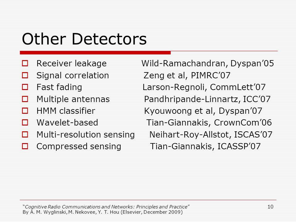 Other Detectors Receiver leakage Wild-Ramachandran, Dyspan'05