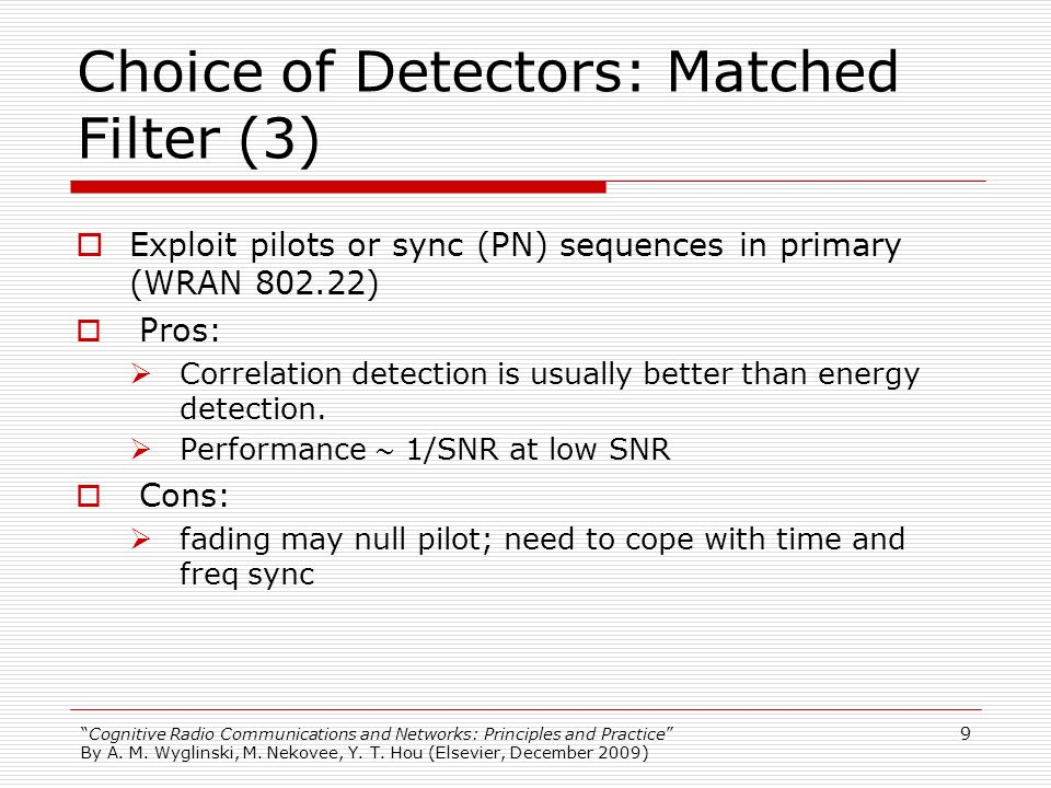 Choice of Detectors: Matched Filter (3)