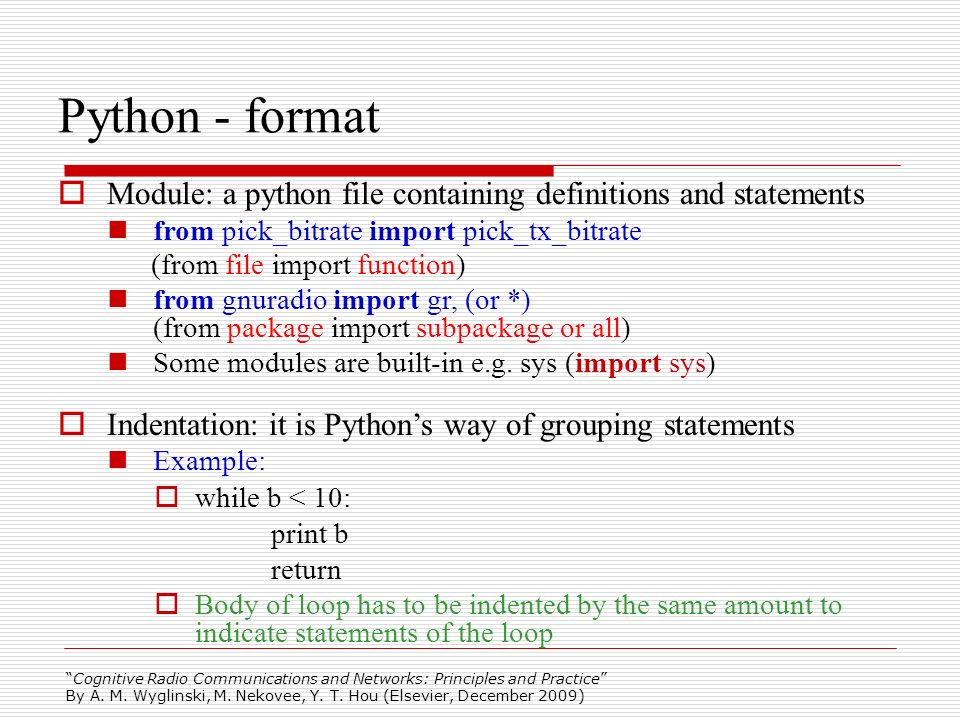 Python - format Module: a python file containing definitions and statements. from pick_bitrate import pick_tx_bitrate.
