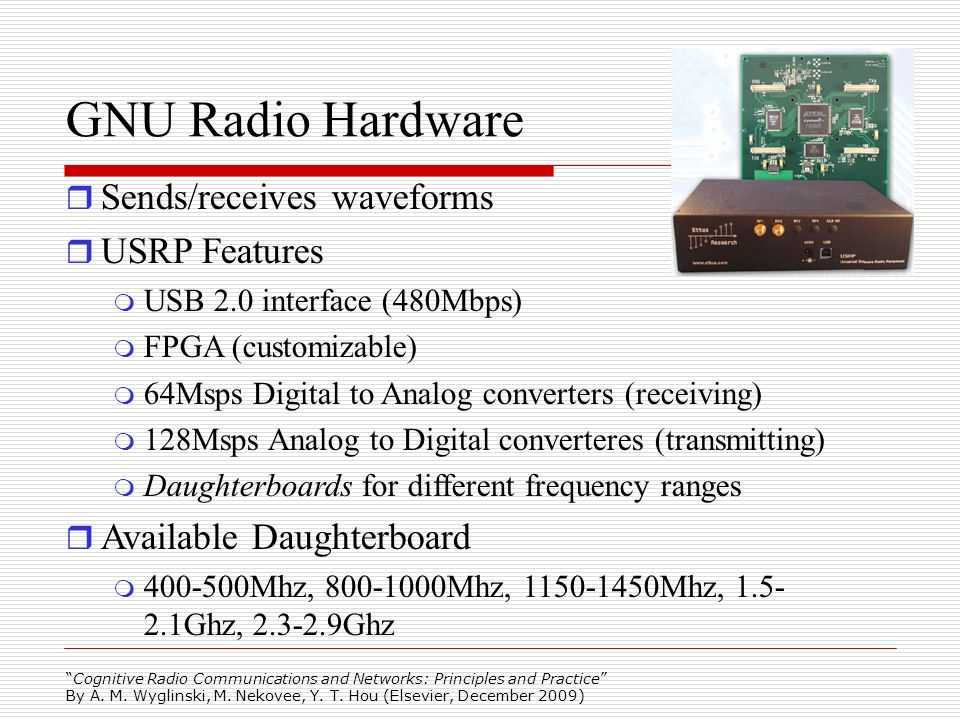 GNU Radio Hardware Sends/receives waveforms USRP Features