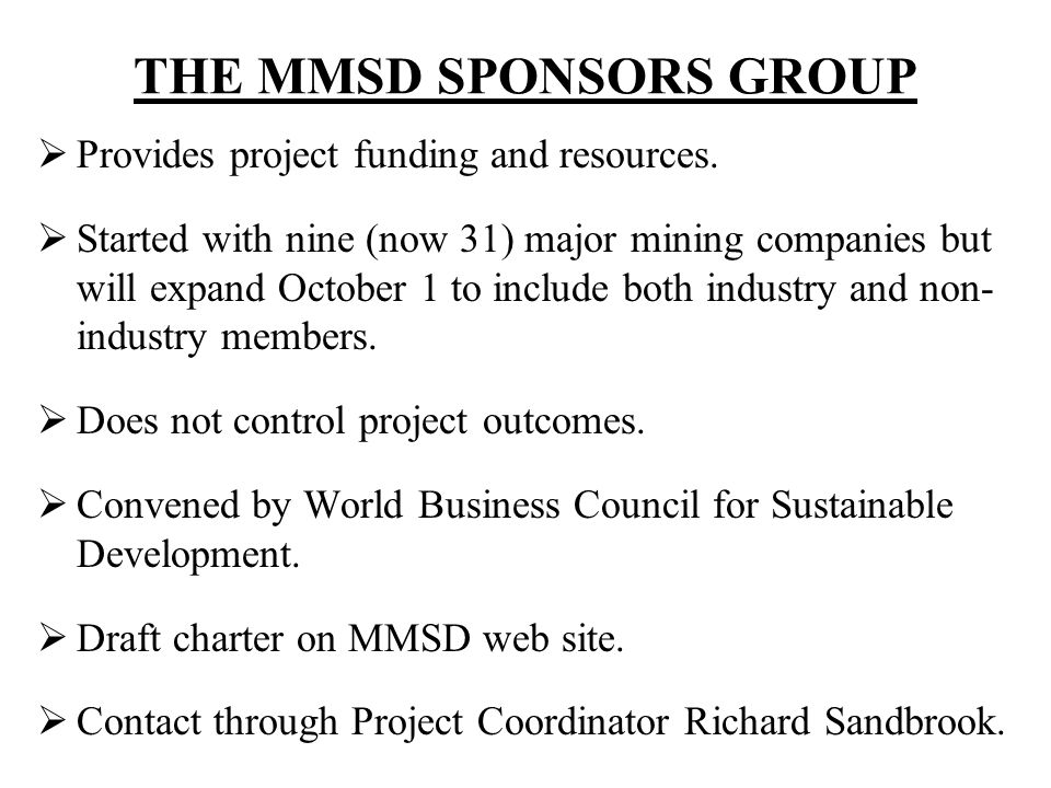 THE MMSD SPONSORS GROUP