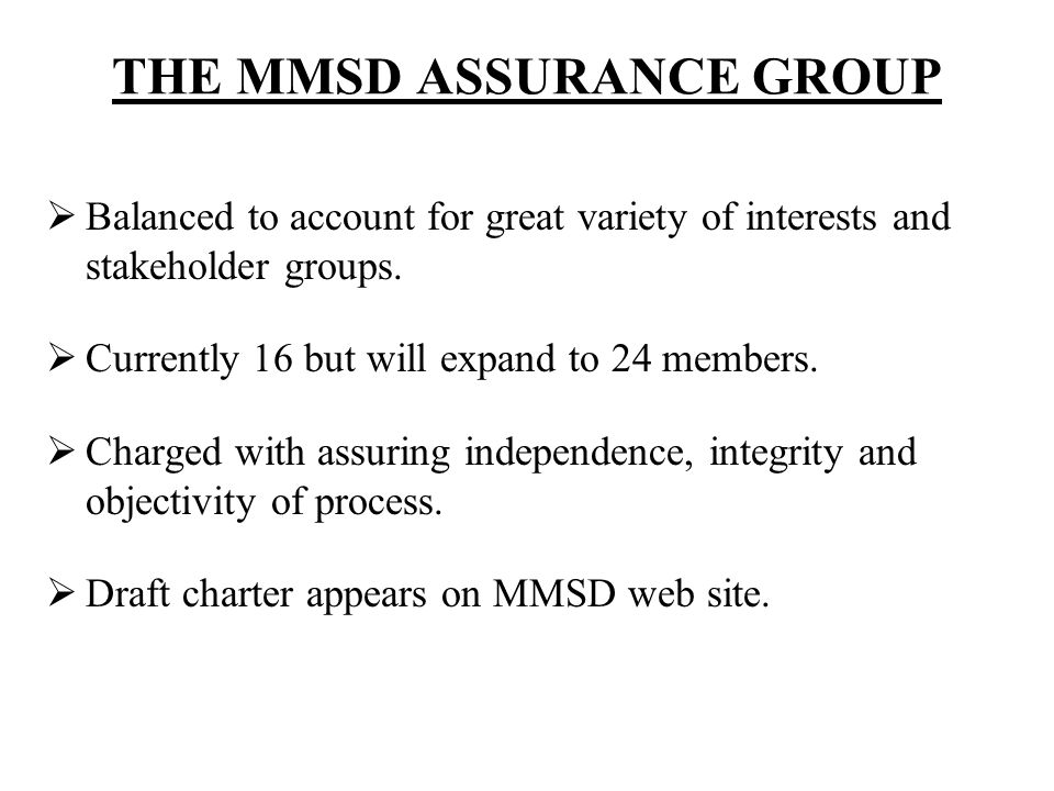 THE MMSD ASSURANCE GROUP