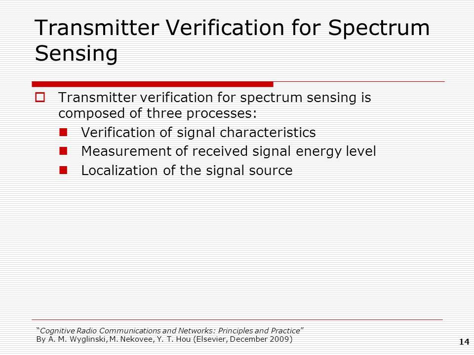 Transmitter Verification for Spectrum Sensing