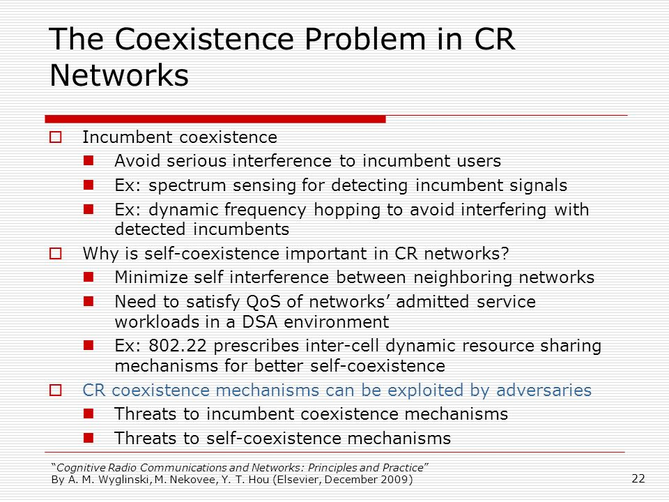 The Coexistence Problem in CR Networks
