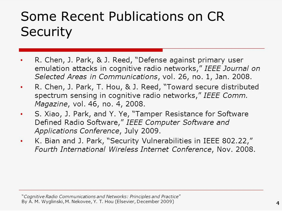 Some Recent Publications on CR Security