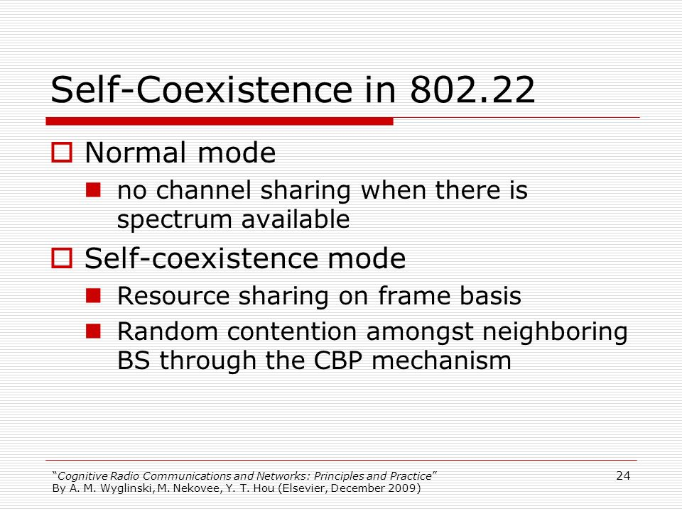 Self-Coexistence in 802.22 Normal mode Self-coexistence mode