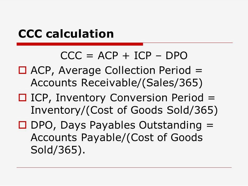 CCC calculation CCC = ACP + ICP – DPO
