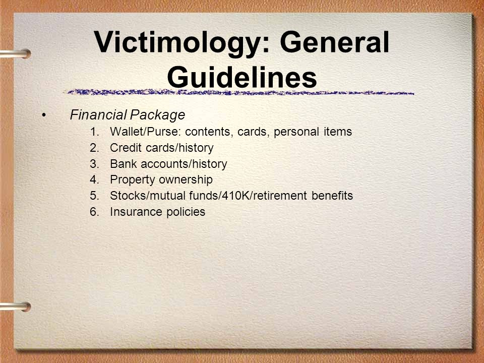 Victimology: General Guidelines