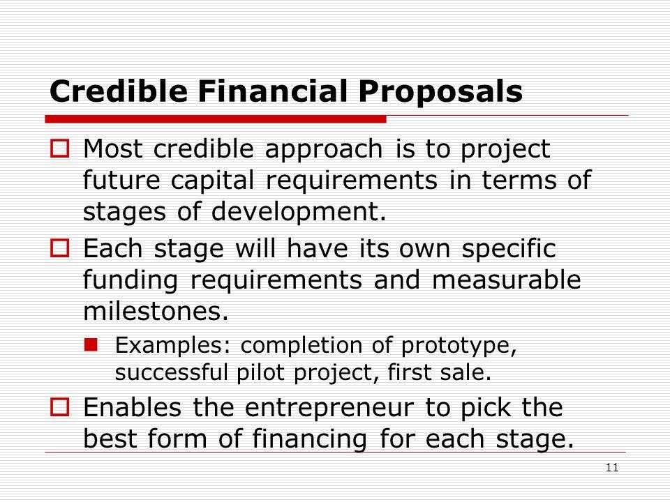 Credible Financial Proposals