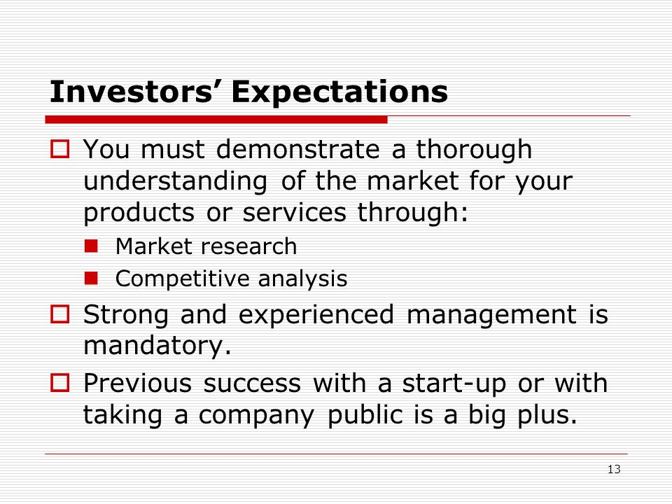 Investors' Expectations