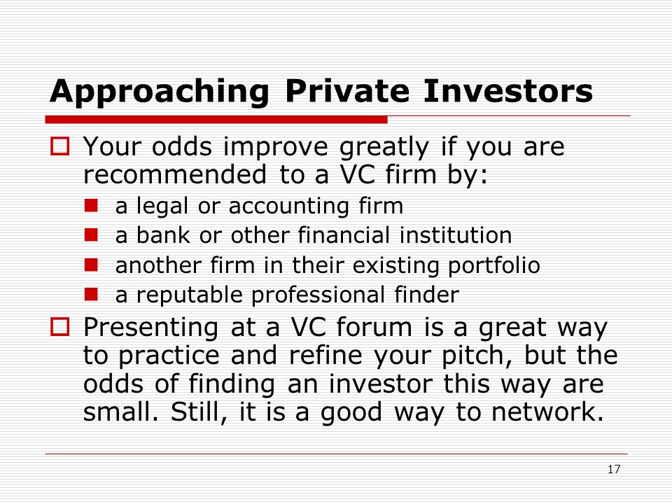 Approaching Private Investors