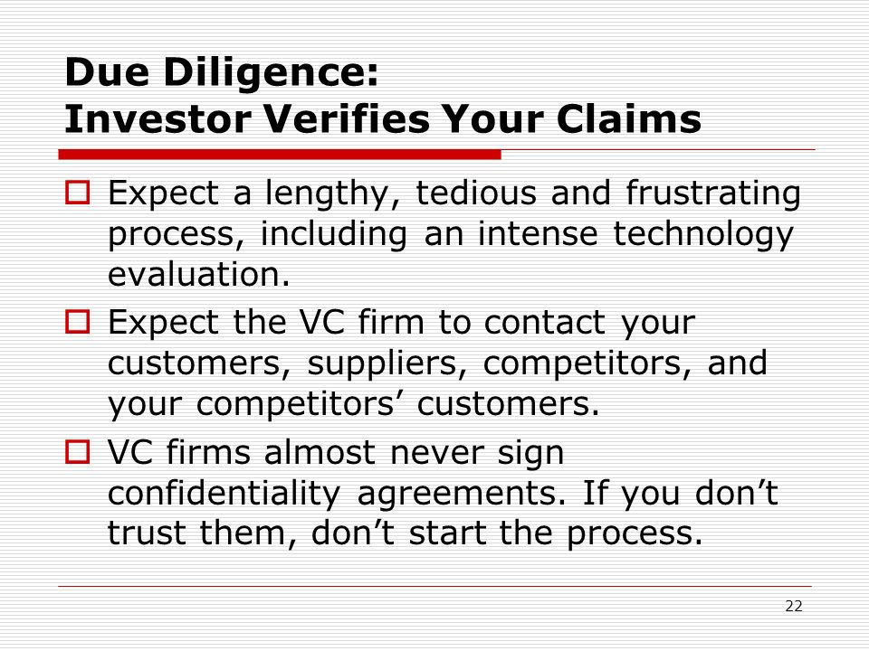 Due Diligence: Investor Verifies Your Claims
