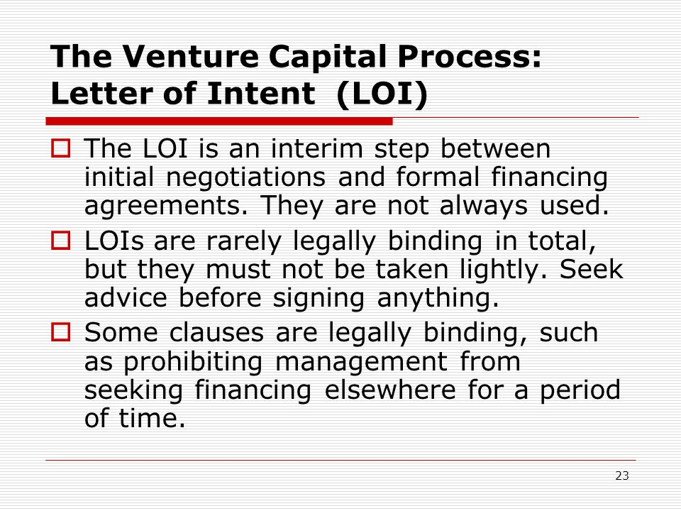 The Venture Capital Process: Letter of Intent (LOI)