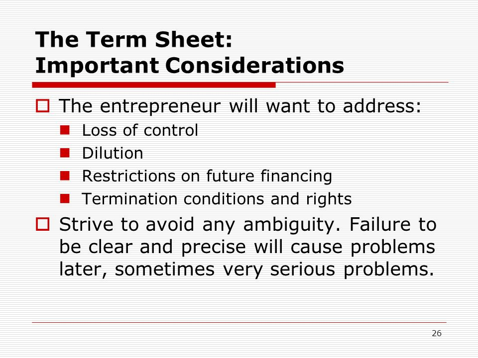 The Term Sheet: Important Considerations