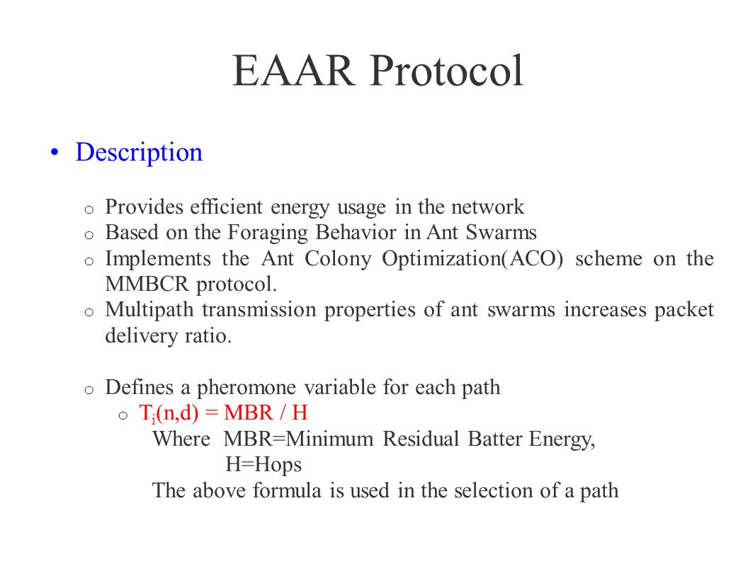 EAAR Protocol Description
