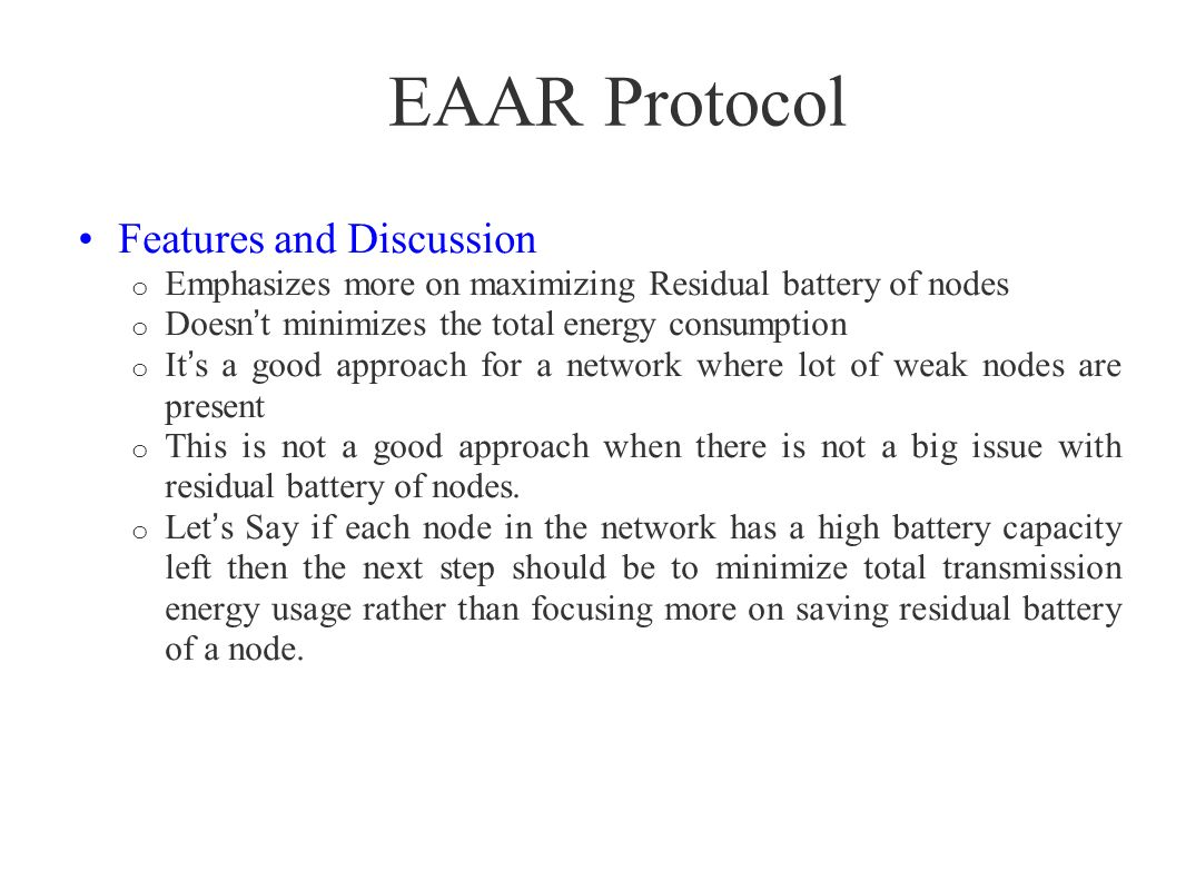 EAAR Protocol Features and Discussion