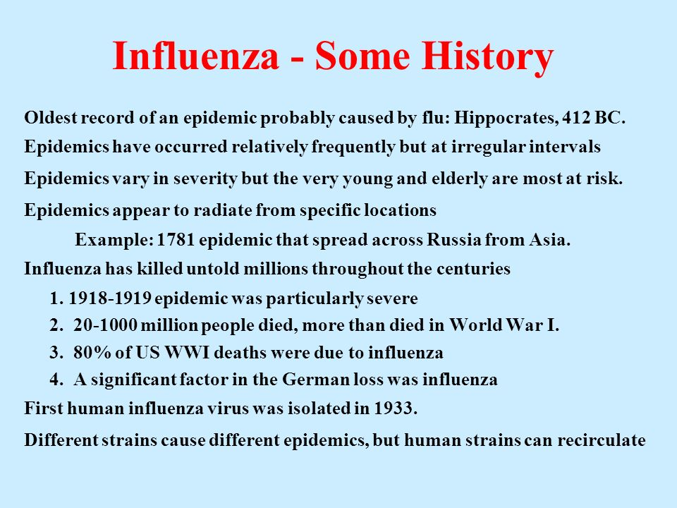 Influenza - Some History