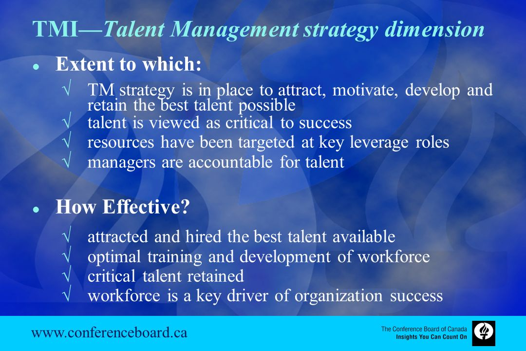 talent management and development audit and strategy The talent management strategy may be supported by technology such as hris (hr information systems) or hrms (hr management systems) talent management [ edit ] talent management is an organization's ability to recruit, retain, and produce the most talented employees available in the job market.