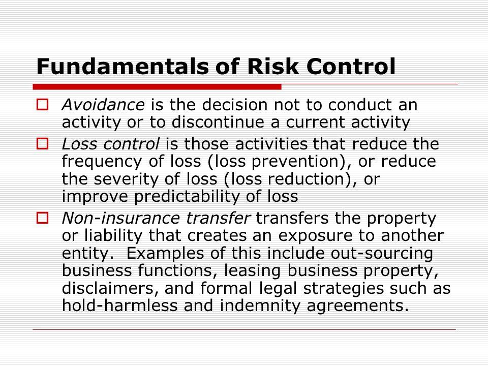Fundamentals of Risk Control