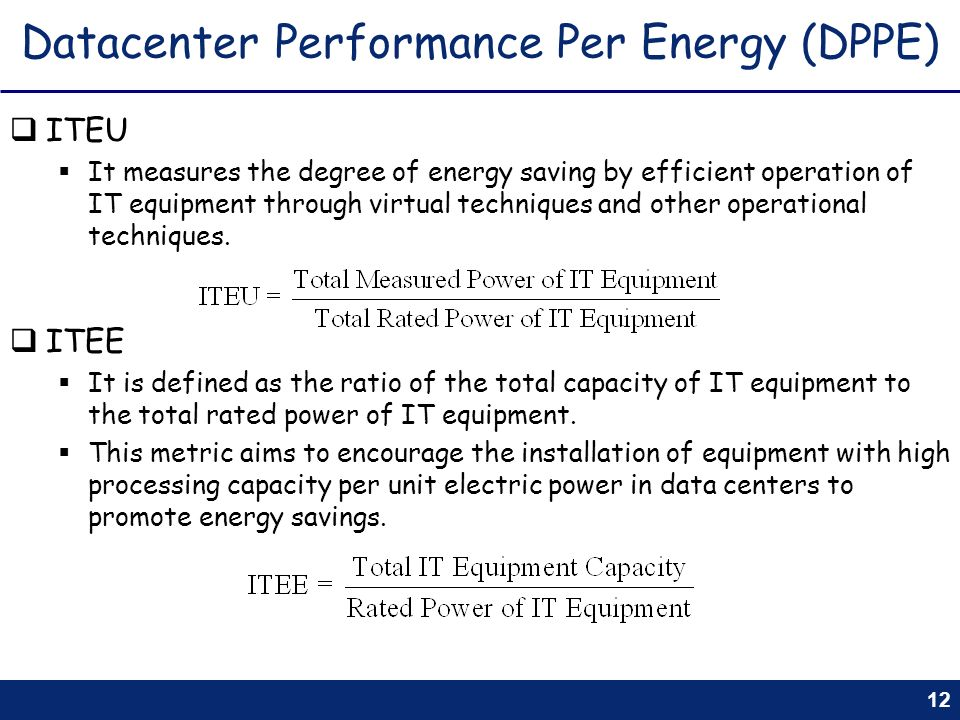 Datacenter Performance Per Energy (DPPE)