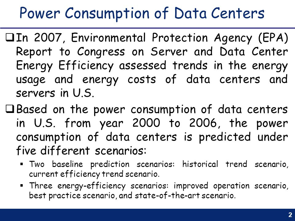 Power Consumption of Data Centers