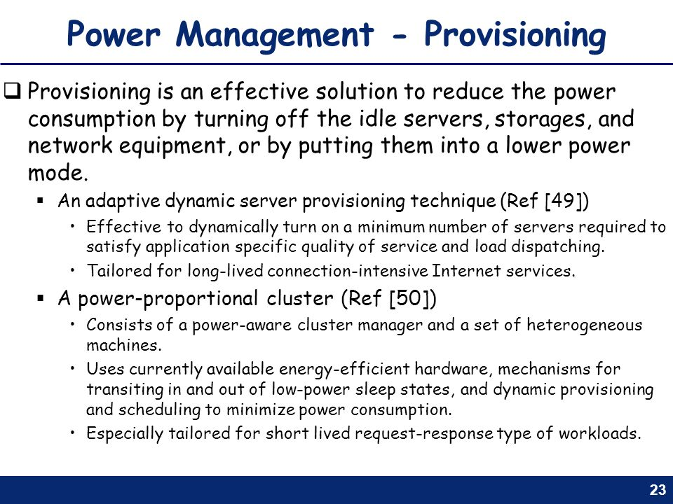 Power Management - Provisioning