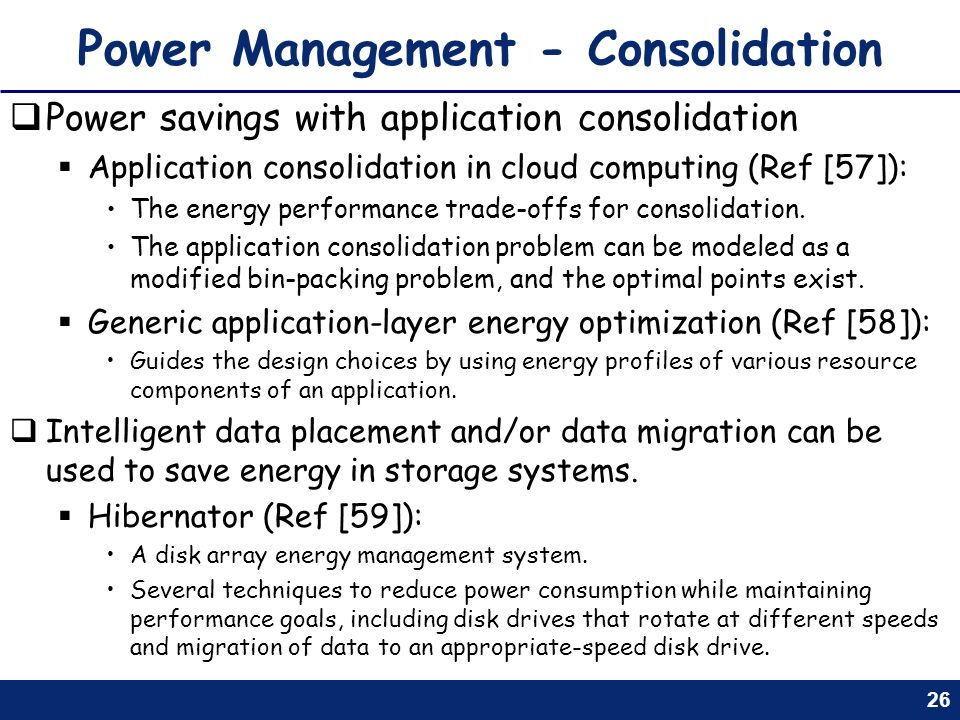 Power Management - Consolidation