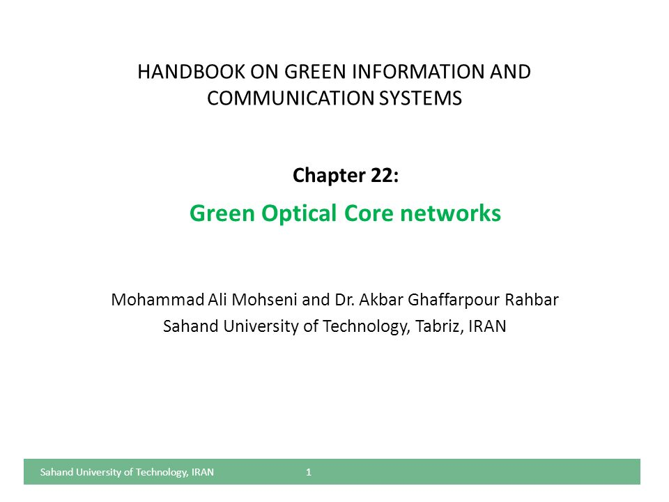 HANDBOOK ON GREEN INFORMATION AND COMMUNICATION SYSTEMS