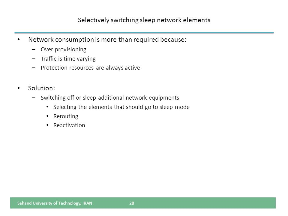 Selectively switching sleep network elements