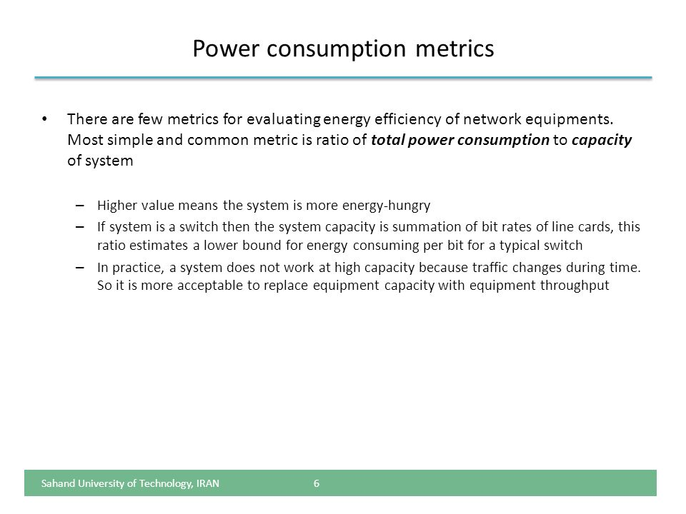 Power consumption metrics