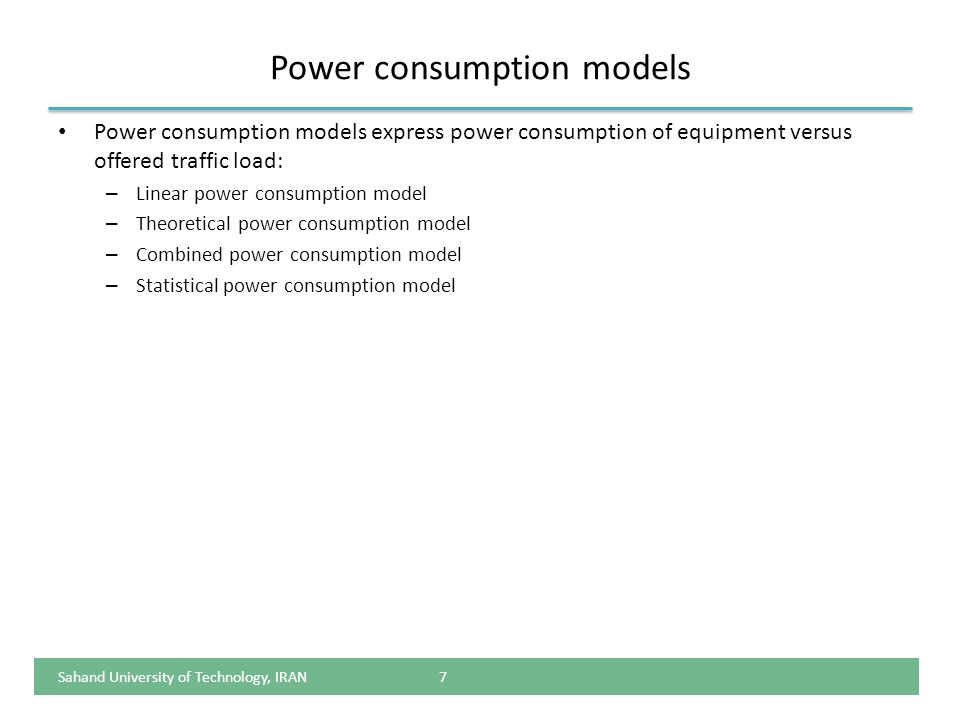 Power consumption models
