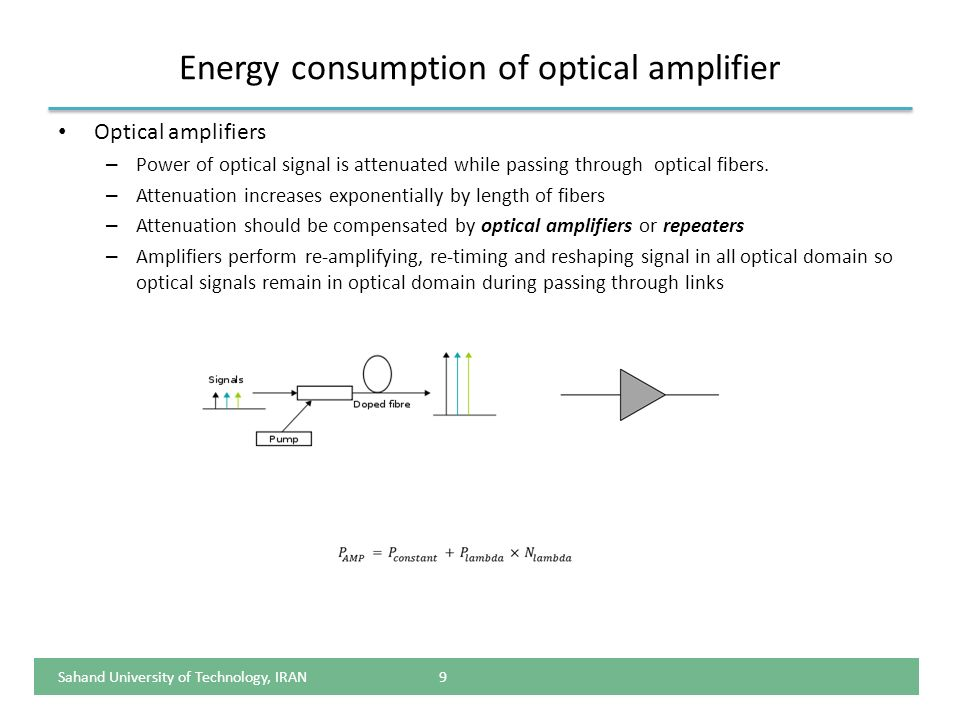 Energy consumption of optical amplifier