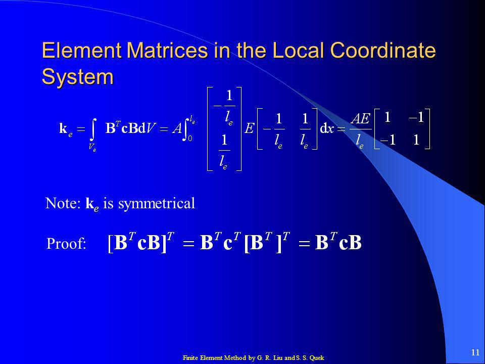 Element Matrices in the Local Coordinate System