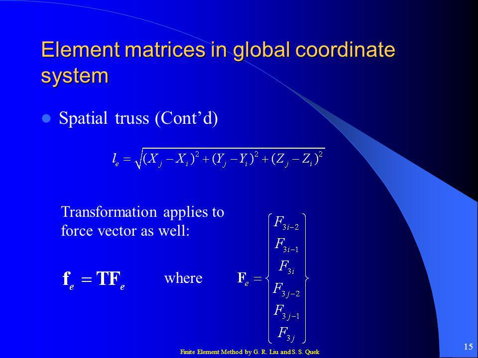 Element matrices in global coordinate system